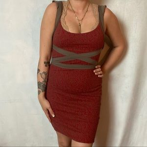 FREE PEOPLE RED BODYCON BANDAGE STYLE DRESS